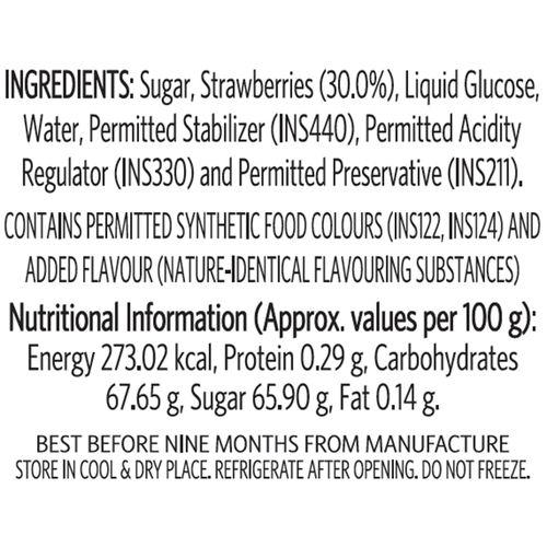 Veeba Strawberry Fruit Topping, 380 g Pet Jar