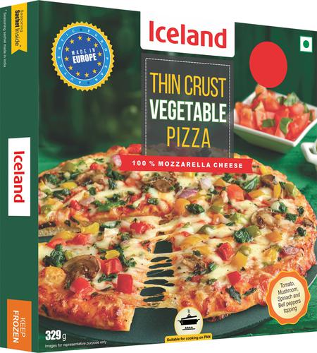 Iceland Vegetable Thin Crust Pizza, 329 g
