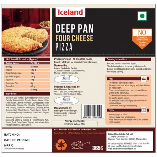 Iceland Four Cheese Deep Pan Pizza, 365 g