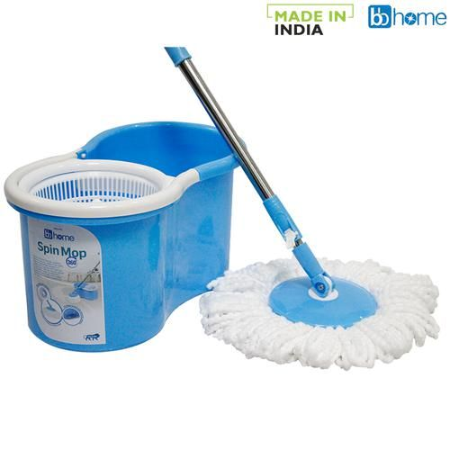 BB Home Mop Bucket 360 Degree Spin with 2 Refills, Blue, 1 pc