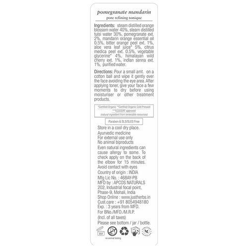 Just Herbs Pomegranate Mandarin Pore Refining Tonique - Enlarged Pores, 100 ml