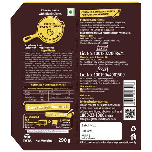 TATA Q Heat to Eat - Cheesy Pasta With Black Olives, 290 g