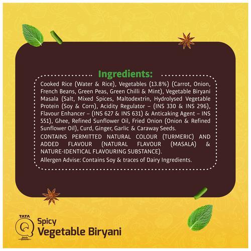 TATA Q Heat to Eat - Spicy Vegetable Biryani, 330 g