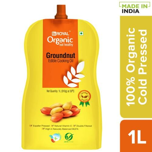 BB Royal Organic Organic Cold Pressed Groundnut Cooking Oil, 1 L Spout Pack