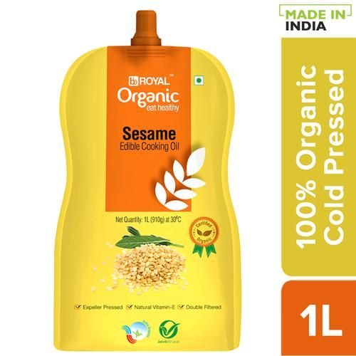 BB Royal Organic Cold Pressed Sesame (Gingelly) Cooking Oil, 1 L Spout Pack