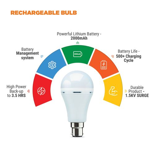 Nippo Rechargeable Emergency Inverter Bulb - 9W, Cool Daylight, B22, 1 pc