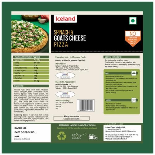 Iceland Spinach & Goats Cheese Pizza, 385 g