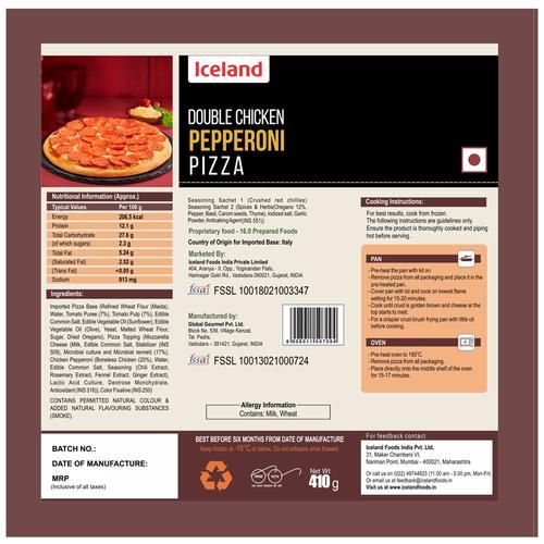 Iceland Double Chicken Pepperoni Pizza, 410 g