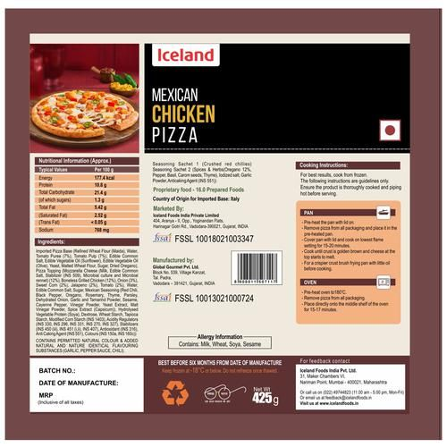 Iceland Mexican Chicken Pizza, 425 g