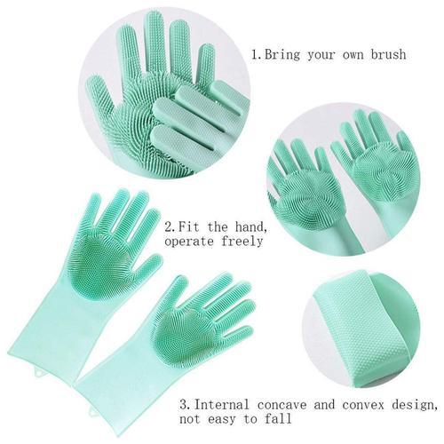 Spartan Silicone Scrubbing Gloves - Assorted Colour, 20 cm, 1 pair