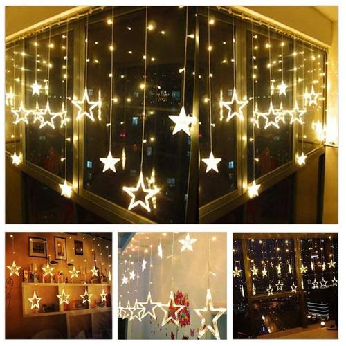 Lexton Curtain Decoration Lights 138 LED 2.5 M & 8 Flashing Modes - 12 Star, Warm White, 1 pc