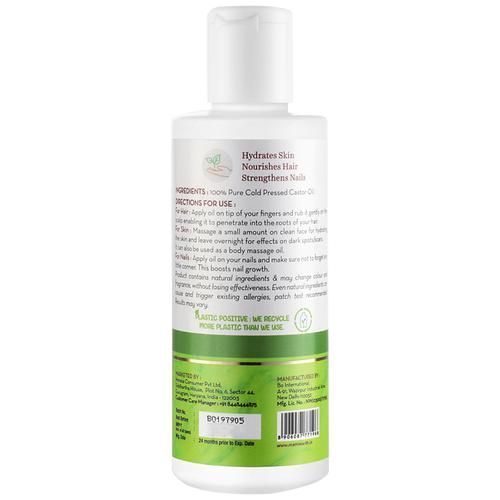 Mamaearth 100% Pure Castor Oil, Cold Pressed, To Support Hair Growth, Good Skin & Strong Nails, 150 ml