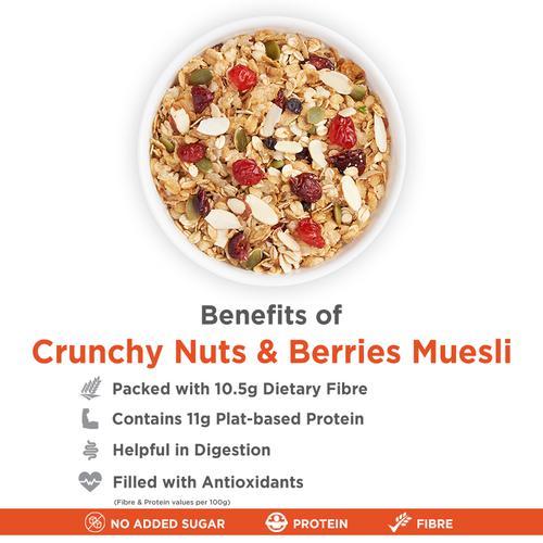 True Elements Crunchy Nuts & Berries Muesli For Breakfast, 1 kg