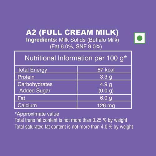Heritage A2 Full Cream Milk, 500 ml (Pack of 2)