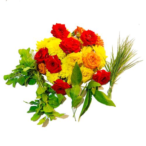 RoseBazaar Assorted Puja Flowers + Greens Mix, 100 g
