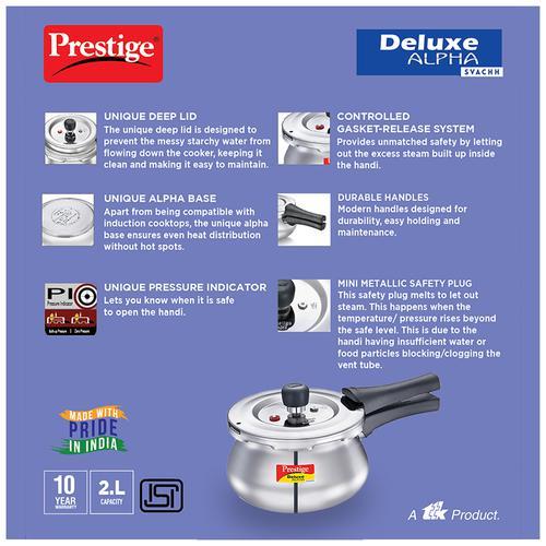 Prestige Svachh 2L Alpha Baby Handi Cooker with Deep lid for Spillage Control