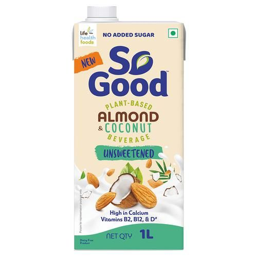 So Good Plant Based Almond Coconut Beverage - Unsweetened, Rich In Calcium, Vitamins, Vegan, 1 L