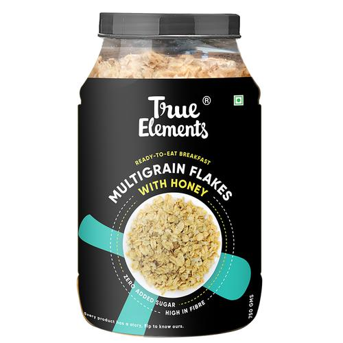 True Elements Multigrain Flakes with Honey - Flakes for Breakfast, Power of Wheat Flakes, Jowar Flakes & Bajra Flakes, Healthy Cereal, 750 g
