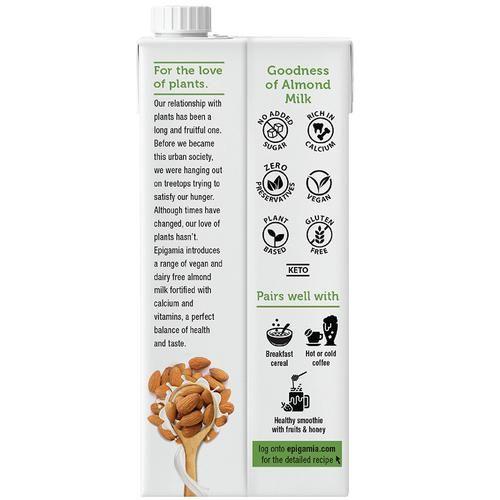 Epigamia  Almond Milk - Unsweetened, Dairy Free, 1 L Tetrapack
