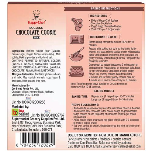 HappyChef Eggless Double Chocolate Cookie Mix, 300 g