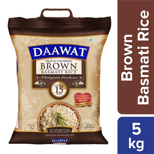 Daawat  Basmati Rice/Basmati Akki - Brown (Quick Cooking), 5 kg Pouch