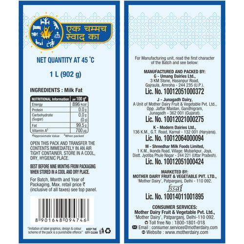 mother dairy Ghee, 1 L Carton