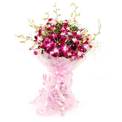 FERNS N PETALS Flower Bouquet - Splendid Purple Orchids, 400 g