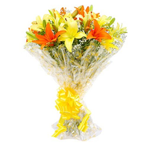FERNS N PETALS Flower Bouquet - Sunshine Lilies, 400 gm