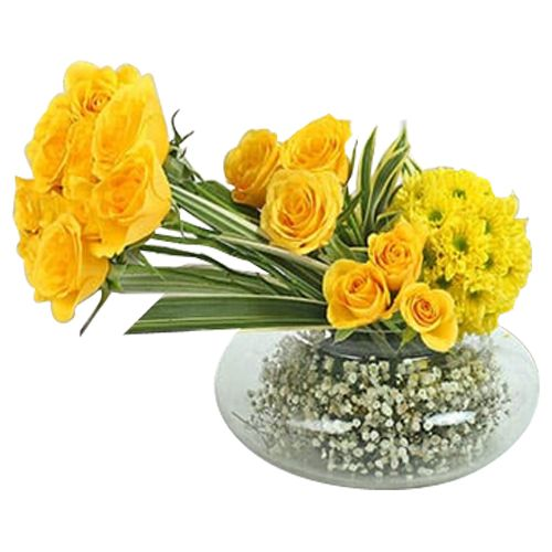 Ferns N Petals Pvt Ltd Flower Bouquet - Yellow Roses N Daisies Arrangement, 400 g
