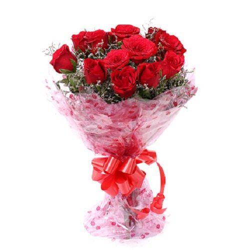 FERNS N PETALS Flower Bouquet - vivid 12 red roses, 1 pc
