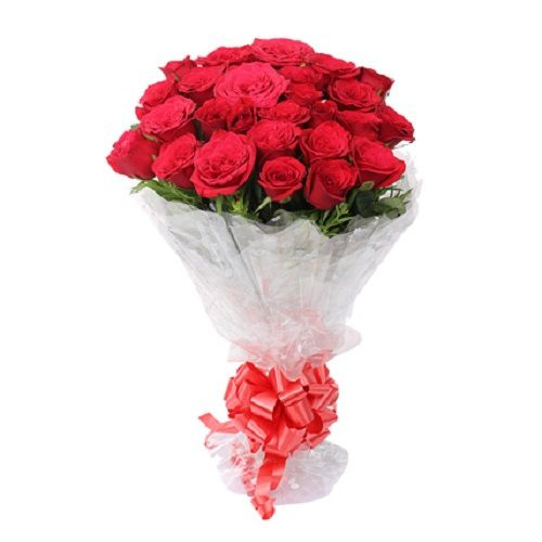 FERNS N PETALS Flower Bouquet - vivid 24 red roses, 1 pc