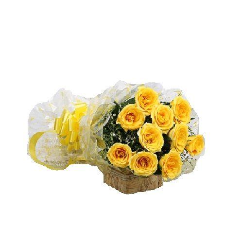 FERNS N PETALS Flower Bouquet - Yellow Delight, 1 pc