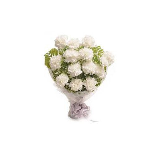 Kusum The Flower Flower Bouquet 12 White Roses Bunch 1 Pc Gilitine Paper