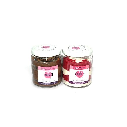 The Table Cake - Salted Caramel Brownie & Red Velvet Combo, 300 g Pack of 2 Jars