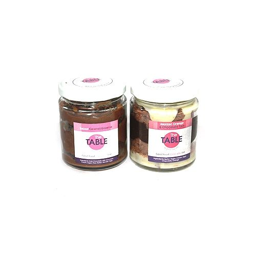 The Table Cake - Salted Caramel Brownie & Molten Orange Tart Combo, 300 g Pack of 2 Jars