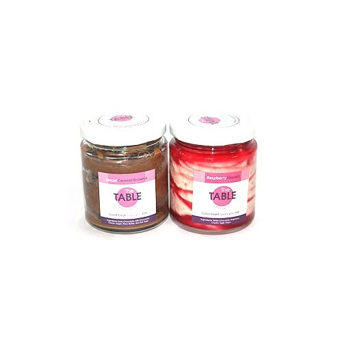 The Table Cake - Salted Caramel Brownie & White Chocolate Raspberry Combo, 300 g Pack of 2 Jars