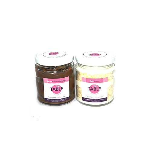 The Table Cake - Salted Caramel Brownie & Maja Blanca Combo, 300 g Pack of 2 Jars