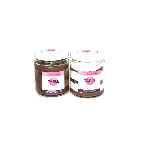 The Table Cake - Salted Caramel Brownie & Oreo Chocolate Melt Combo, 300 g Pack of 2 Jars
