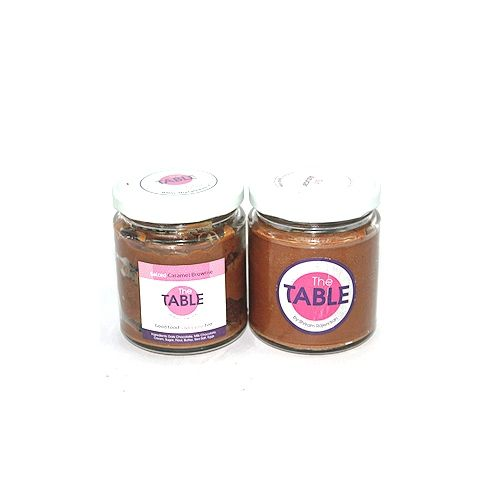 The Table Cake - Salted Caramel Brownie & Sin Azucar Combo, 300 g Pack of 2 Jars