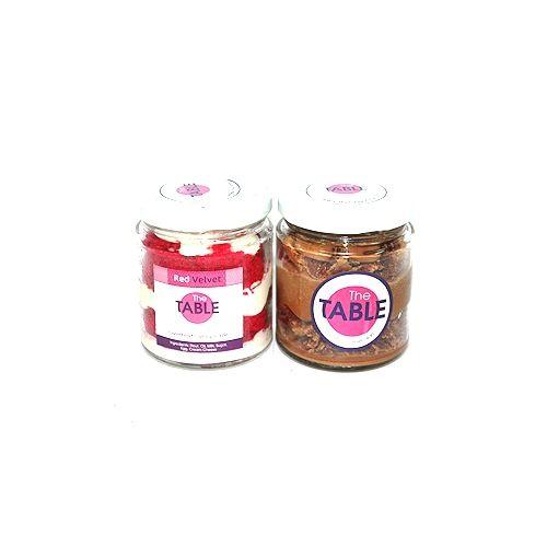 The Table Cake - Red Velvet & Macaroon Jar Combo, 300 g Pack of 2 Jars