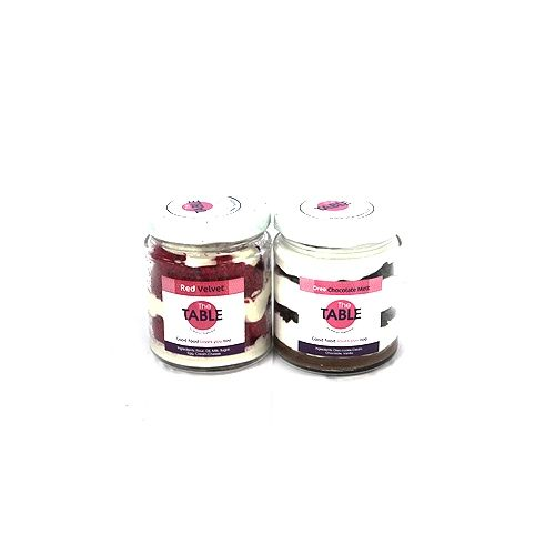 The Table Cake - Red Velvet & Oreo Chocolate Melt Combo, 300 g Pack of 2 Jars