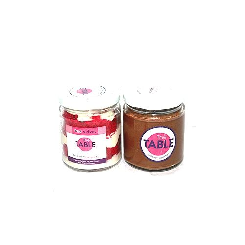 The Table Cake - Red Velvet & Sin Azucar  Combo, 300 g Pack of 2 Jars