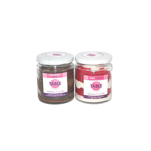 The Table Cake - Chocolate Mud & Red Velvet Combo, 300 g Pack of 2 Jars