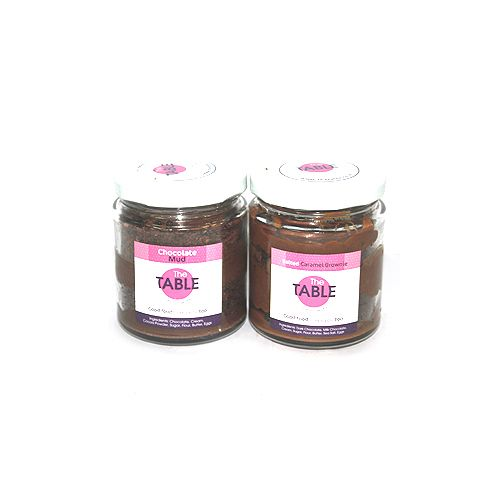 The Table Cake - Chocolate Mud & Salted Caramel Brownie  Combo, 300 g Pack of 2 Jars