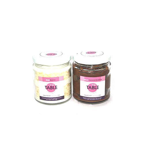 The Table Cake - Maja Blanca & Salted Caramel Brownie Combo, 300 gm Pack of 2 Jars