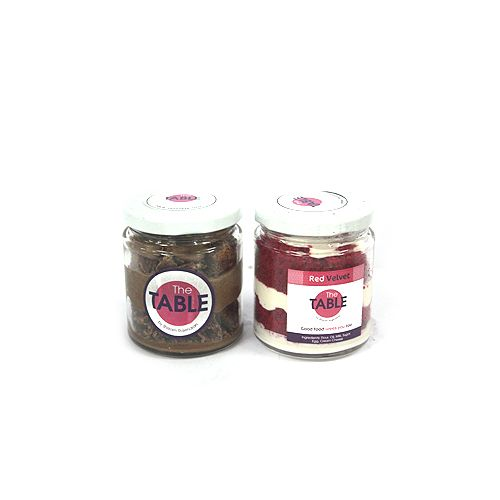 The Table Cake - Macaroon Jar & Red Velvet  Combo, 300 g Pack of 2 Jars