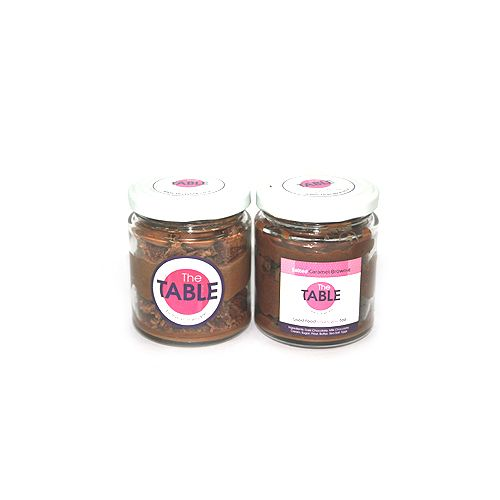 The Table Cake - Macaroon Jar & Salted Caramel Brownie Combo, 300 g Pack of 2 Jars