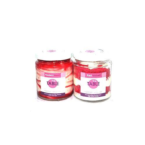The Table Cake - White Chocolate Raspberry & Red Velvet   Combo, 300 g Pack of 2 Jars