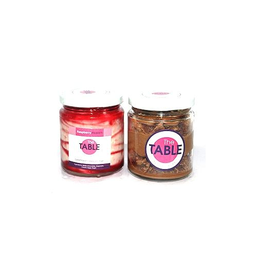 The Table Cake - White Chocolate Raspberry & Macaroon Jar   Combo, 300 g Pack of 2 Jars
