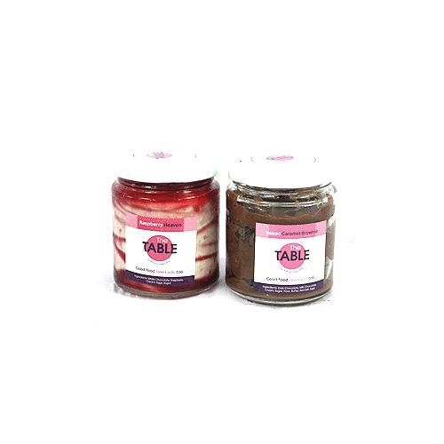 The Table Cake - White Chocolate Raspberry & Salted Caramel Brownie  Combo, 300 g Pack of 2 Jars